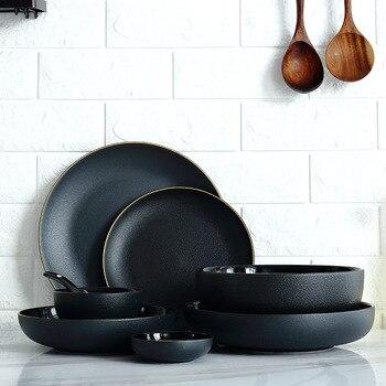 1pc czarnego złota krawędź ceramiczne talerze obiadowe płyta ryżowa sałatka makaron miska talerze do zupy matowe zestawy obiadowe zastawa stołowa narzędzia kuchenne