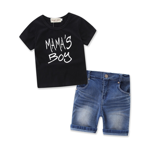 a4b0b5455 Luz Do sol Do Bebê Menino calças Conjuntos (camisa + shorts jeans) 2018  Roupas
