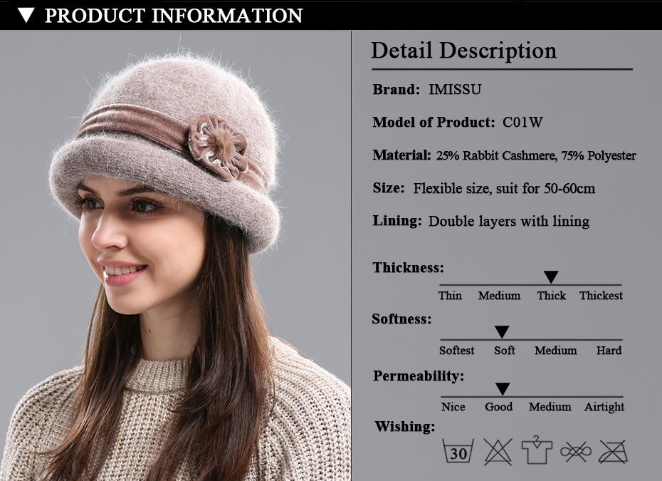 e757806a4f1 2019 IMISSU Autumn Winter Fedora Rabbit Fur Hat For Women Women s ...