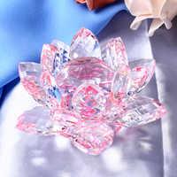 8/10/12CM Multicolor Kristall Lotus Blumen Miniatur Feng Shui Glas Figuren Handwerk Briefbeschwerer Home Decor Zubehör geschenk