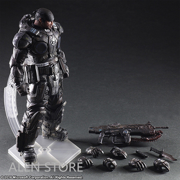 ALEN 27cm Play Arts Kai PA Marcus Fenix Game Gears of War 3 War Machine Action Figure Collection Model Toy цены