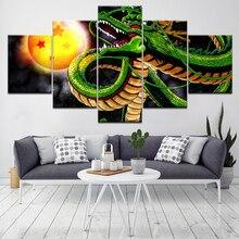 Dragon Ball Z Shenron 5 panelen canvas kunst aan de muur Wallpapers modern Poster modulair kunst schilderij voor woonkamer woondecoratie