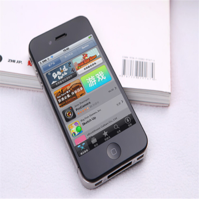 Unlocked Original Apple iPhone 4 Cell Phones 8/16/32/GB ROM 5MP Camera IOS Free Shipping 1