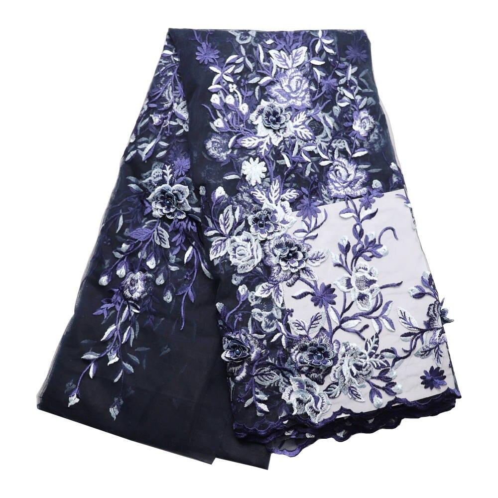 Granatowy niebieski luksusowe francuski koronki 3d kwiecista siatka koronki tiul z koralikami tkanina ślubna 240 5 metrów na ślub w Koronka od Dom i ogród na  Grupa 1