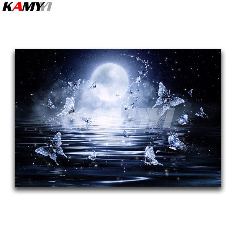 Carré plein Diamant broderie point de Croix paysage Plein Diamant mosaïque blanc papillon 3D DIY Diamant peinture lune Lumière