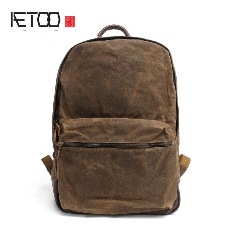 AETOO Men 's batik cloth leisure shoulder bag mad horse leather bag travel bag waterproof tide retro canvas bag 2016 men s batik canvas bag new retro simple street trend personality backpack men s bag 82050k