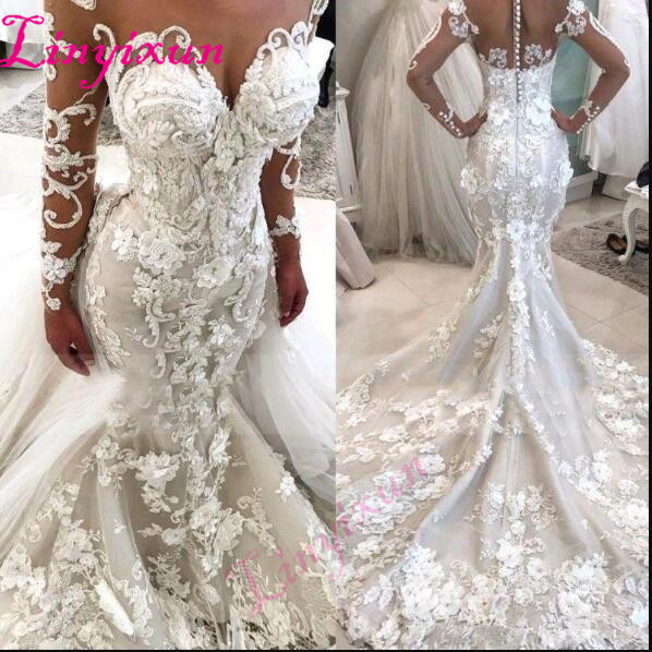 2019 Glamorous Mermaid Wedding Dresses With Detachable Train Illusion Sheer Neck Long Sleeves Flowers Luxury Bridal Gowns