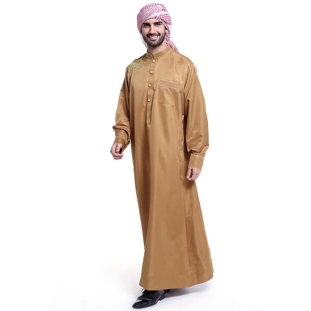 ファッションイスラム教徒衣類男性ローブ長袖刺繍パターンアラブドバイインド中東イスラム男トーブカフタン#48