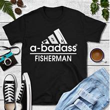 4970aaa46398 Funny Fishing a-badass Fisherman Adidas Fathers Day T-Shirt Black Cotton  Cool Casual pride t shirt men Unisex New Fashion tshirt