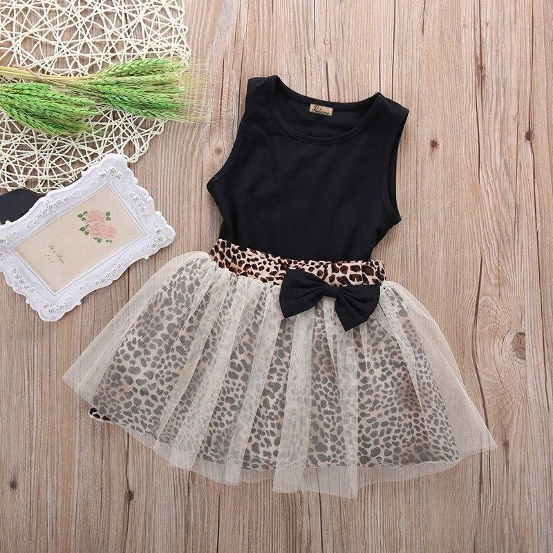Novo quente crianças bebê menina vestido sem mangas gola redonda superior leopardo impressão malha vestido 2 pçs terno vestidos