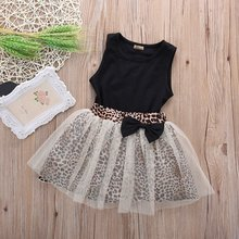 New Hot Kids Baby Girl dress Sleeveless Round Collar Top Leo