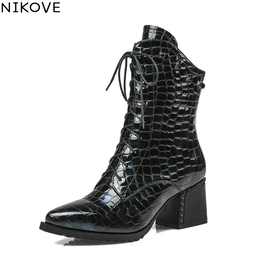 NIKOVE 2018 Women Boots Western Style Ankle Boots Square High Heels Pointed Toe Short Plush/PU Blue Ladies Boots Size 34-42 vallkin 2018 women boots elegant pointed toe square high heels ankle boots short plush pu lining black ladies boots size 34 42