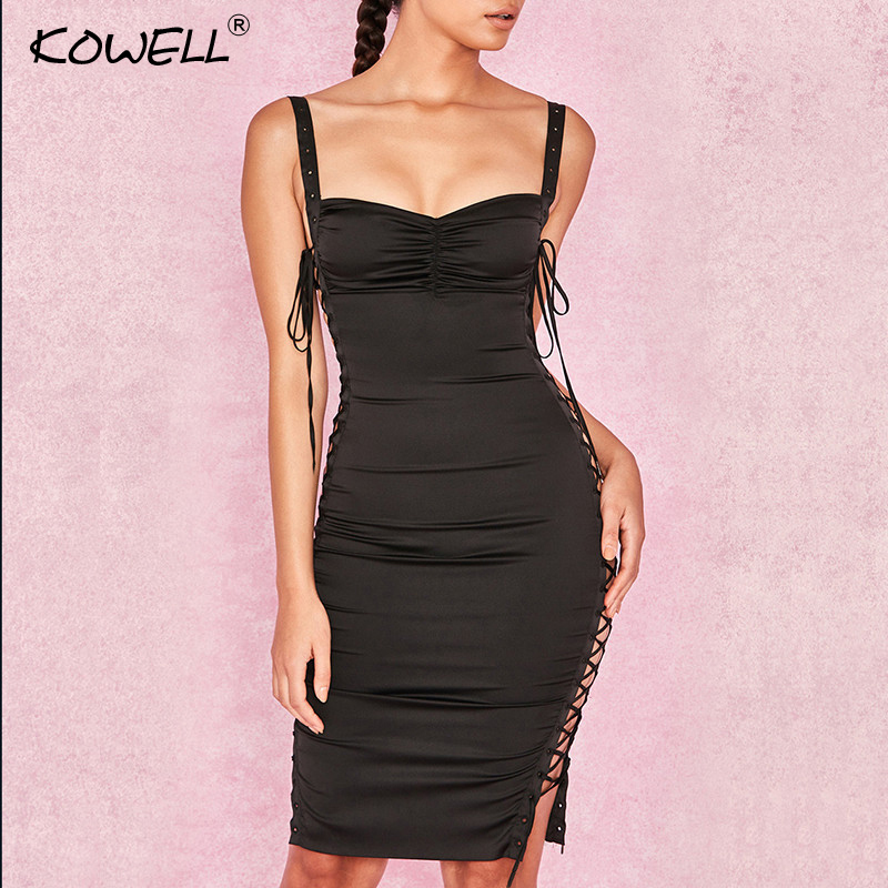 Kowell Side Lace Up Spaghetti Strap Sexy Bodycon Dress Hollow Out Sleeveless Summer Women Dress Backless Nightclub Party Dress