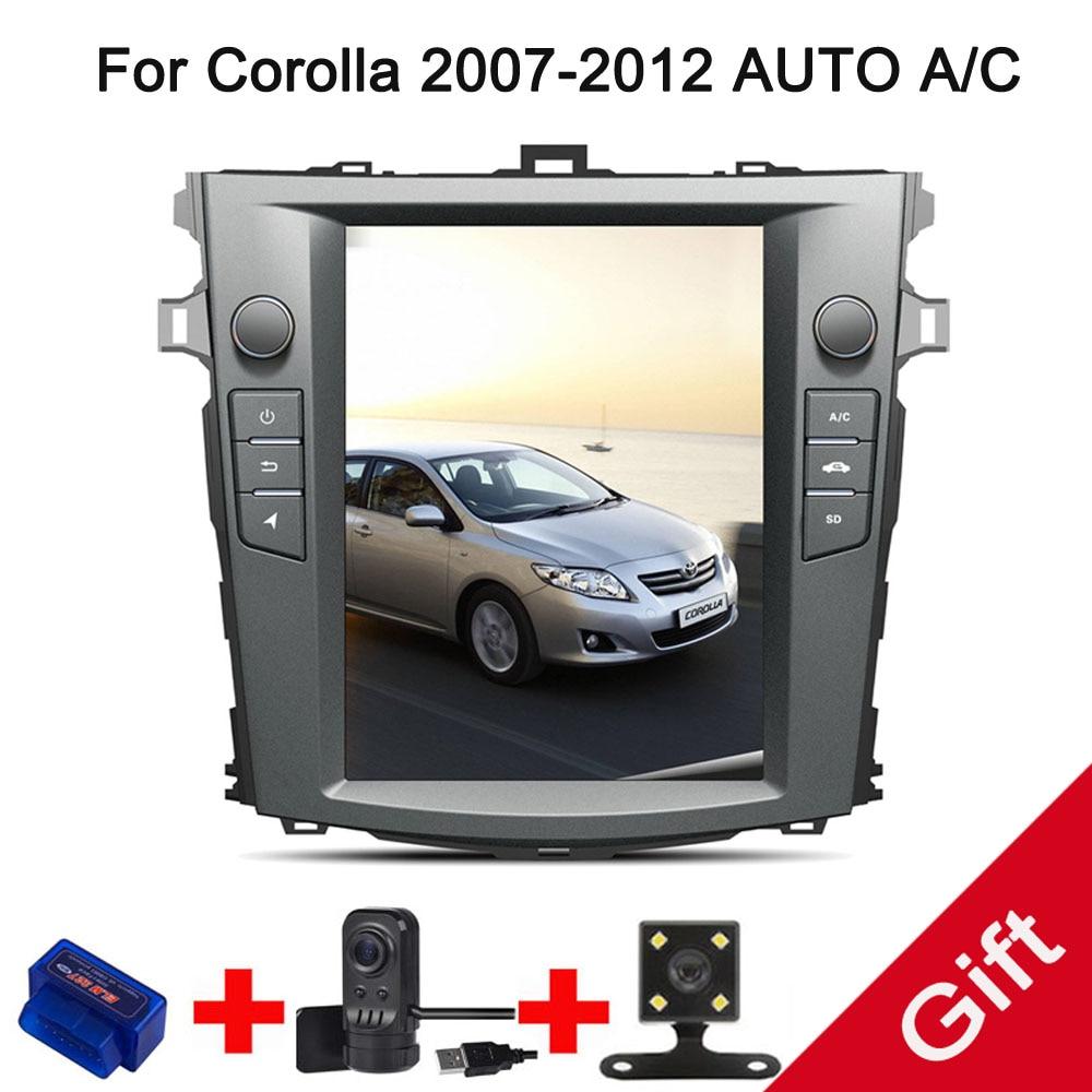 10,4 Тесла Android 7,1 подходит TOYOTA Corolla 2007 2009 2010 2011 2012 Авто/C dvd плеер навигационная gps радио