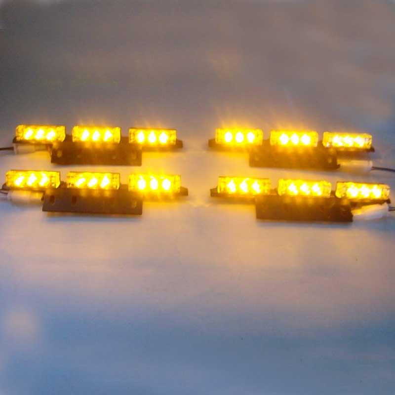 FREE SHIPPING4*9 36LED Car Flash Strobe Light Waterproof AMBER 3 FLASHING MODE