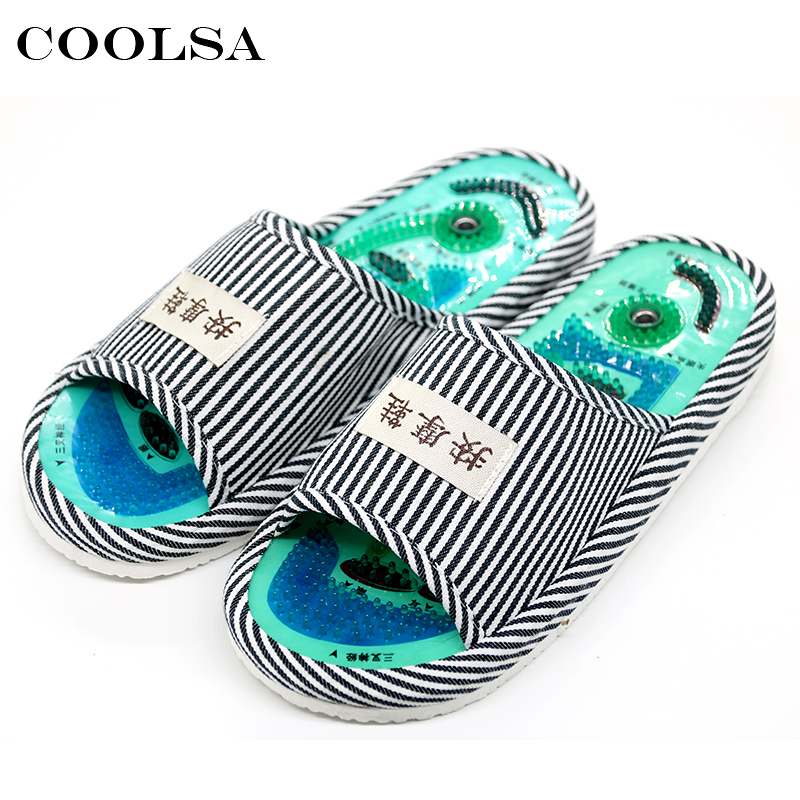 Coolsa New Unisex Massage Slippers Slimming Shoes Stripes Fabric PVC Reflexology Flat Non-Slip Home Slipper Casual Beach Sandals coolsa new summer linen women slippers fabric eva flat non slip slides linen sandals home slipper lovers casual straw beach shoe page 4