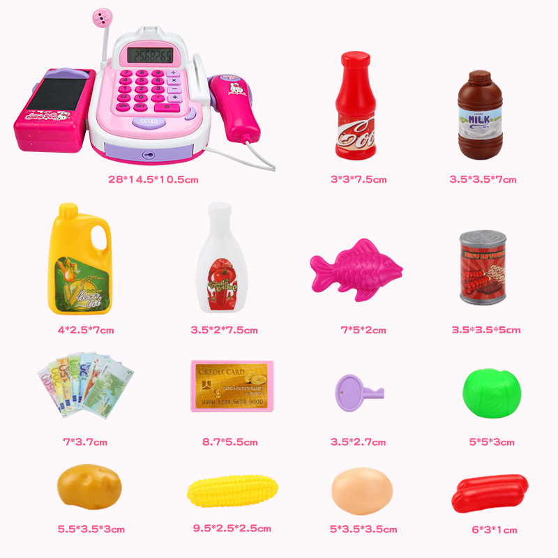 Mini Simulation Supermarket Checkout Counter Foods Goods Toys Kids Pretend Play Shopping Cash Register Set Toy For Girl's Gift Multan