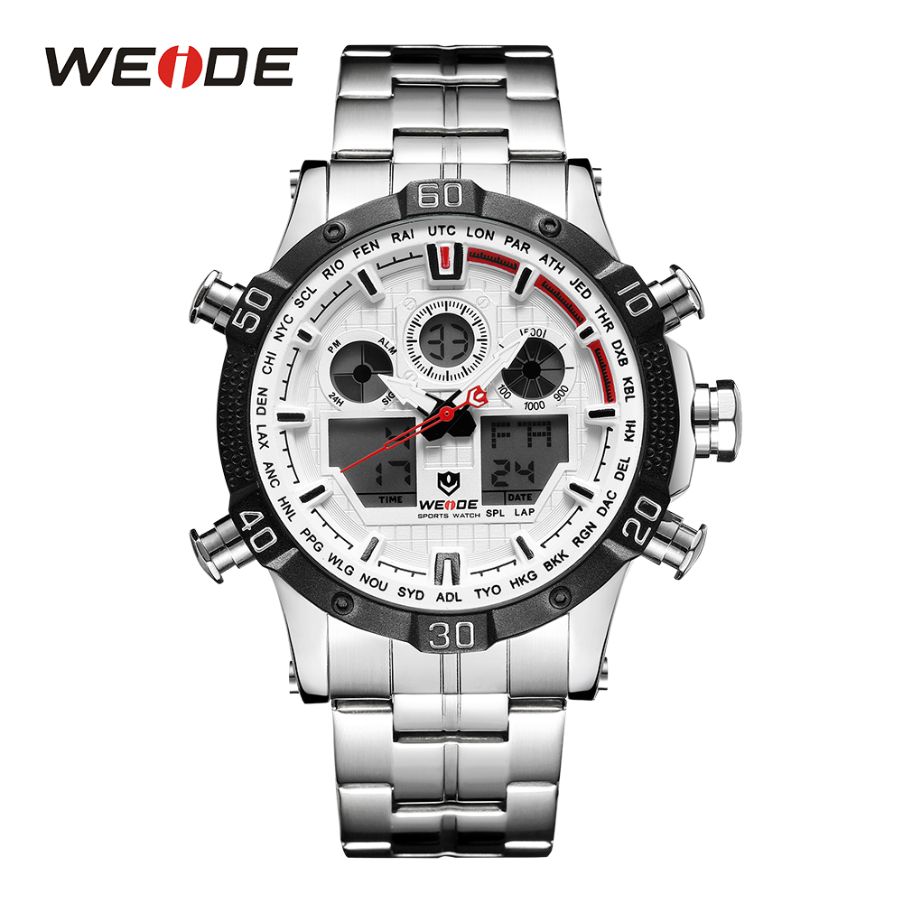 WEIDE Men Sport Watch Stopwacth Back Light Alarm Digital Auto Date Quartz Analog Stainless Steel Band Military White Wristwatch weide luxury brand sport watch quartz analog lcd digital stainless steel band date black dial alarm military men watches wh3403