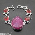 Hermosa Jewelry Exquisite charming vintage purple Snake skin agate  garnet 925 sterling silver beautiful Bracelet 8.25'' HF617