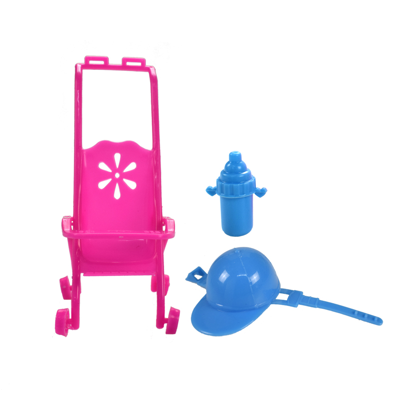3 Item/set of Doll Accessories = Pink Baby Stroller + Blue ...
