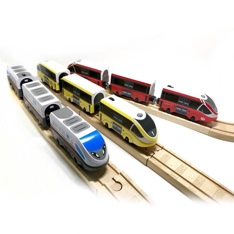 Rrc emu trem elétrico conjunto de madeira pista carro crianças transporte brinquedo compatível com brio trilho de madeira pista biro