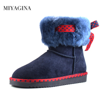 Top Brand New Fashion Real Fur Classic Mujer Botas Waterproof 100 Genuine Cowhide Leather Snow Boots