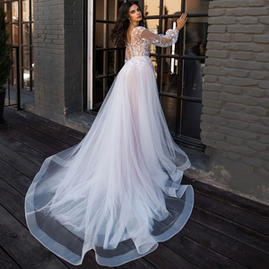 Image 2 - Свадебное платье LORIE в стиле бохо с пышными длинными рукавами, а силуэт, аппликация, платье для невесты до пола, индивидуальный пошив, свадебное платье принцессы