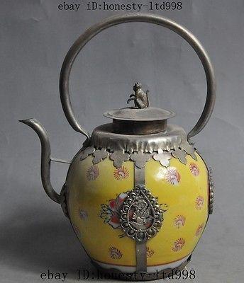 Chine fengshui singe dragon phoenix porcelaine mosaïque tibet argent théière bouilloire outils d'expédition décoration de mariage en laiton