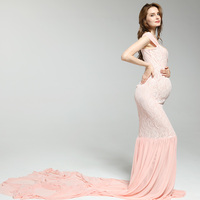 Maternity Photography Props Lace Maxi Dress Pregnancy V-Neck Clothing Maternity Long Dresses For pregnant Photo Shoot Dress