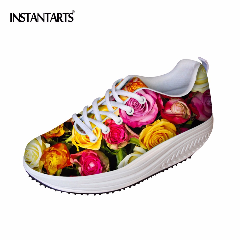 INSTANTARTS 3D Flower Rose Print Swing Shoes Woman Fashion Flat Platform Slimming Shoes for Women Height Increasing Shoes Mujer instantarts women flats emoji face smile pattern summer air mesh beach flat shoes for youth girls mujer casual light sneakers