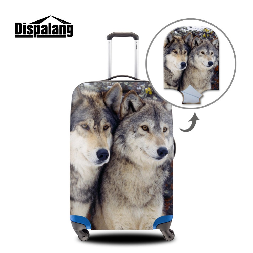Cool Animal suitcase protective anti-scratch luggage cover wolf pattern waterproof protective cover for suitcase for 18-30 inch цена