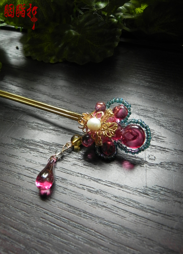 Xuan Yu Colored Glaze Cheongsam Accessory Handmade Vintage Tassel Hair Stick for Hanfu Costume Cos Accessories Bride Hair Jewelr