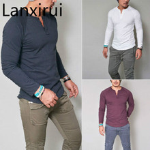 Fashion Men Solid Shirts Slim O Neck Long Sleeve Casual Fit Tops Blouse Spring Summer New