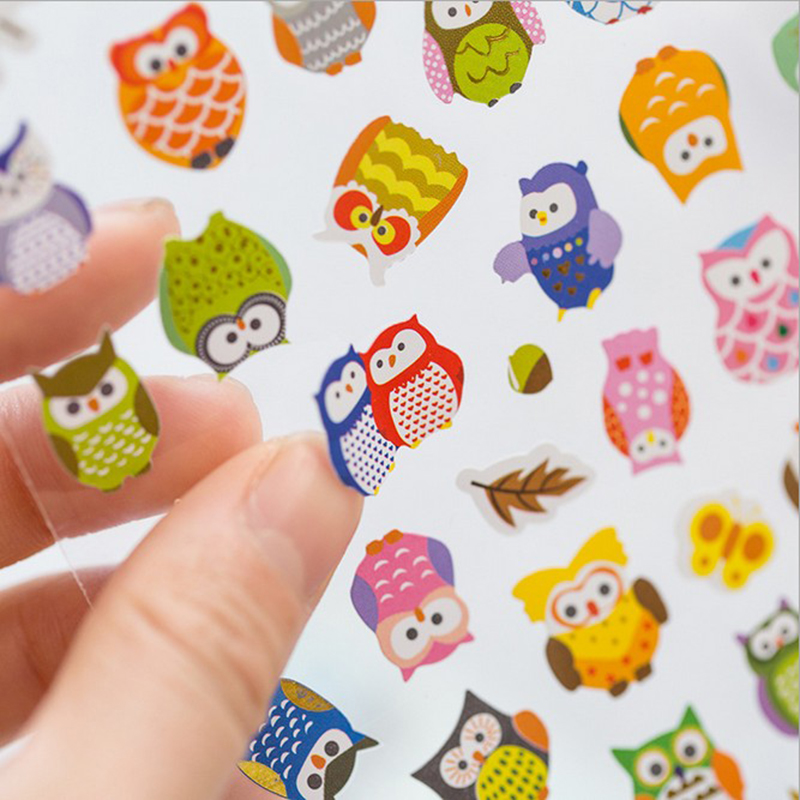 1sheet/lot Owl Giraffe Print Memo Sticker Cartoon Characters Realistic 20cm*10cm Bubble Stickers Kids Stationery Gift
