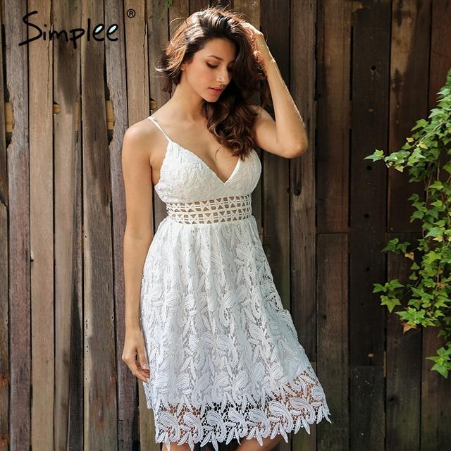 Simplee Deep V padded backless white lace dress Lined summer dress women sundress Sexy hollow out party dress vestido de festa