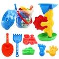 12 pçs/set areia da praia de água play set brinquedos crianças crianças seaside balde pá ancinho kit ferramentas moldes de construção engraçado