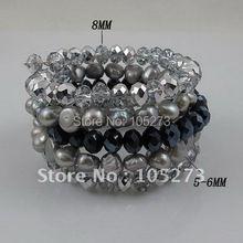 Очаровательная! 5 ряда браслет Серый цвет Подлинная пресноводные перлы & синий серый кристалл браслет размер: 7-8 мм бесплатная доставка A2291