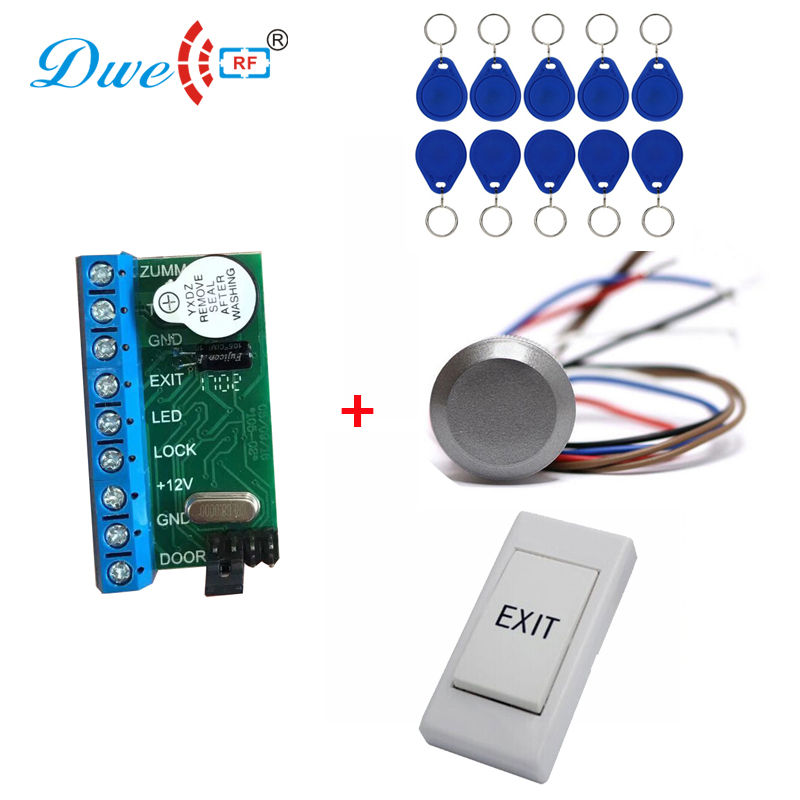 mini rfid standalone controller with rf id wateproof reader exit button with 10 pcs tk4100 key