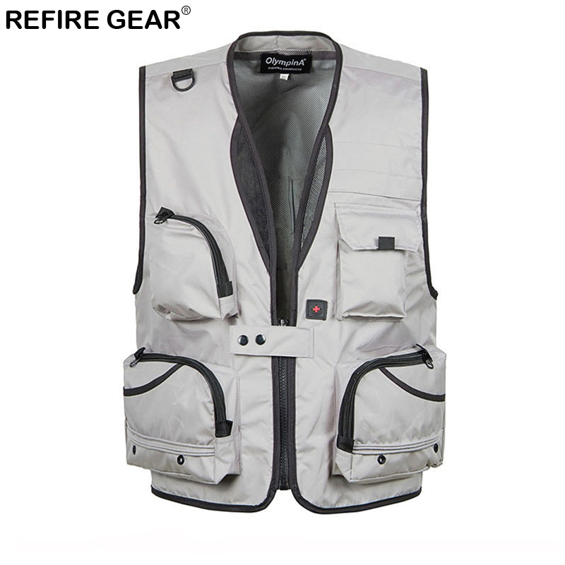 Refire Gear Summer Men Breathable Mesh Vest with Many Pockets Tactical Detachable Waistcoat Male Quick Dry Vests