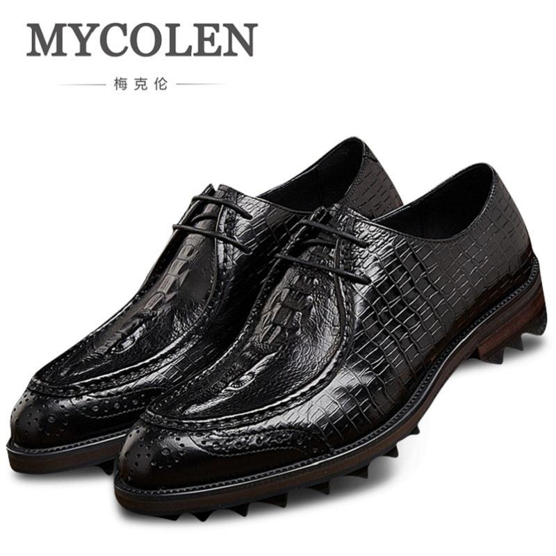 MYCOLEN Genuine Leather Shoes Men Crocodile Pattern Dress Shoes Men Casual Comfortable Men Lace-Up Oxford Formal Shoes men leather shoes casual new 2017 genuine leather shoes men oxford fashion lace up dress shoes outdoor business casual shoes