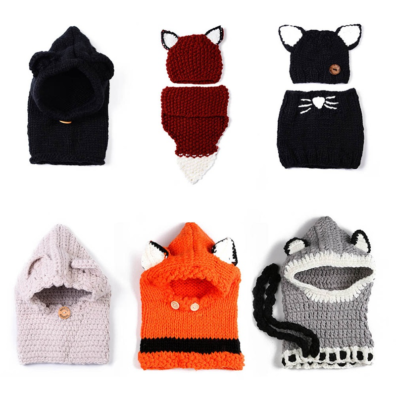 Grey Girl's Hats Winter Beanie Baby Sweater Fox Ktfgs Girls Boys Wool Warm Scarf Hood Holds Hats Girl's Accessories
