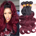 7A Burgundy Ombre Brazilian Hair Body Wave 1B/99J Queen Hair Brazilian Body Wave 1 Bundle Wet And Wavy Red Human Brazillian Hair