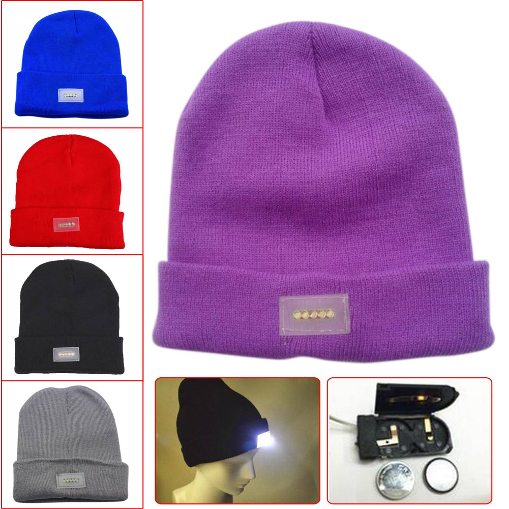 Enjoydeal 1PC LED Light Winter Warm Knitting Flashlight Caps Solid Hats Beanies Bonnet Hats For Camping Hiking Bicycle Lighting