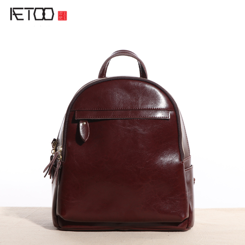 AETOO Original new leather backpack women shoulder bag leather Korean version of the simple wave of wild leisure school school b aetoo first layer of leather shoulder bag female bag korean version of the school wind simple wild casual elephant pattern durab