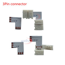 L Shape LED Connector 2pin 3pin 4 pin 8mm 10mm For 3528 ws2811 ws2812b 5050 RGB LED Strip