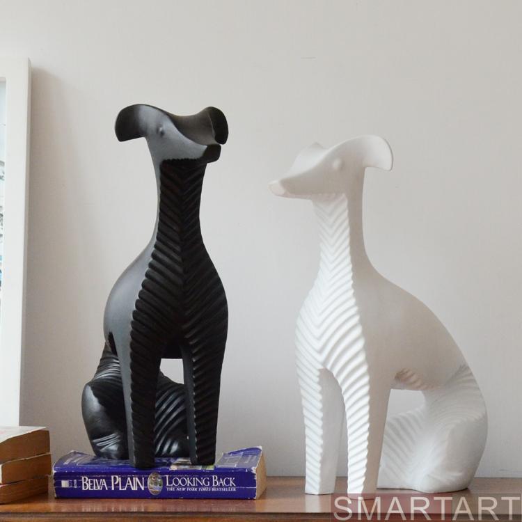 Figurine créative faite à la main abstraite Whippet artisanat nordique blanc/noir chien Sculpture ornements décors maison