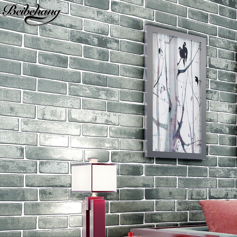 beibehang 3D retro Chinese antique brick pattern nonwoven wallpaper living room background wallpaper clothing store restaurant chinese retro personalized brick pattern wallpaper restaurant restaurants hotels dedicated wallpaper
