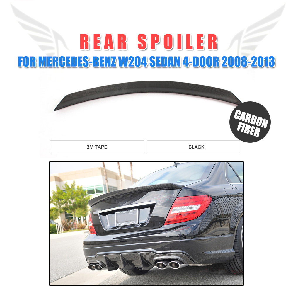 For Mercedes-Benz W204 C180 C200 C250 C300 C63 AMG Sedan 4-Door 2008-2014 Carbon Fiber V Style Rear Trunk Boot Lip Spoiler WingFor Mercedes-Benz W204 C180 C200 C250 C300 C63 AMG Sedan 4-Door 2008-2014 Carbon Fiber V Style Rear Trunk Boot Lip Spoiler Wing