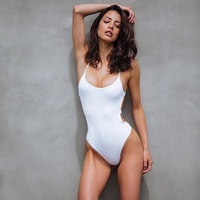 2b97af64cf2a 2018 Women Swimwear Sexy High Cut One Piece Swimsuit Backless Swim Suit  Black White Blue Thong