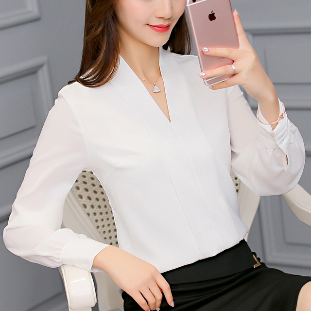 2017 New Fashion women's white  shirt female long sleeve V-neck plus size office blouses OL formal work wear tops blusas XY1035
